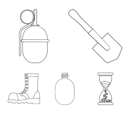 Sapper blade, hand grenade, army flask, soldiers boot. Military and army set collection icons in outline style vector symbol stock illustration . Ilustração