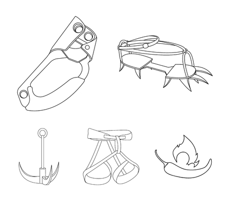 Hook, mountaineer harness, insurance and other equipment.Mountaineering set collection icons in outline style vector symbol stock illustration .