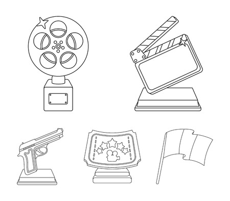 Gold pistol, silver prize for the best supporting role and other prizes.Movie awards set collection icons in outline style vector symbol stock illustration . Vettoriali