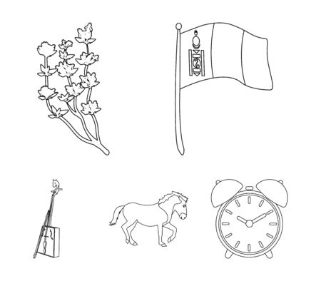 National flag, horse, musical instrument, steppe plant. Mongolia set collection icons in outline style vector symbol stock illustration