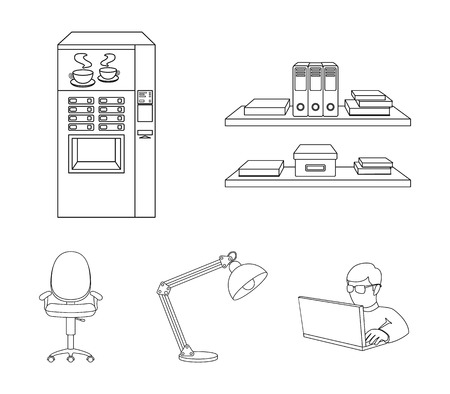 Shelves, folders and notebooks with business records, a coffee machine with cups, an armchair with a backrest on wheels, a desk lamp. Office Furniture set collection icons in outline style vector symbol stock illustration web. Ilustração
