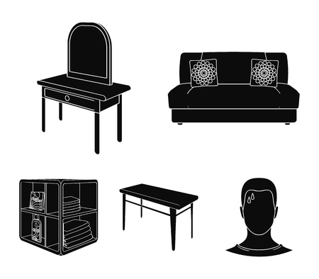 Furniture and interior set collection icons in black style isometric vector symbol stock illustration web. Illustration