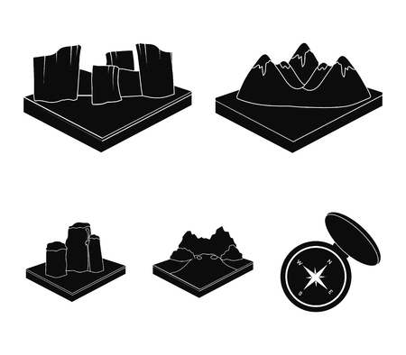 Relief and mountains set collection icons in black style isometric vector symbol stock illustration web. Illusztráció