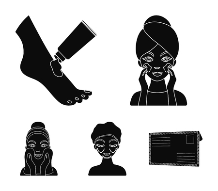 Face care, plastic surgery, face wiping, moisturizing the feet. Skin Care set collection icons in black style vector symbol stock illustration.