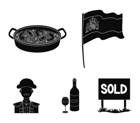Flag with the coat of arms of Spain, a national dish with rice and tomatoes, a bottle of wine with a glass, a bullfighter, a matador. Spain country set collection icons in black style vector symbol stock illustration web. Stock Illustratie