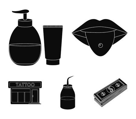 Piercing dans la langue, gel, sallon. Tatouage set icônes de collection dans le style noir vecteur symbole stock illustration web.
