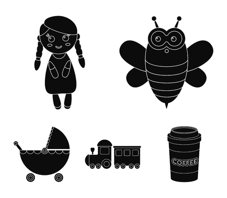 Bee, doll, train, stroller.Toys set collection icons in black style vector symbol stock illustration web. Illustration