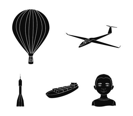 Un drone, un planeur, un ballon, une barge de transport, une fusée spatiale modes de transport. Transport définir des icônes de collection dans le style noir vecteur symbole stock illustration web. Banque d'images - 95359973