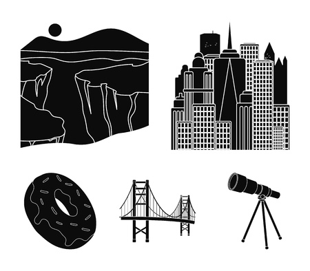 A megacity, a grand canyon, a golden gate bridge, donut with chocolate. The US country set collection icons in black style vector symbol stock illustration . Ilustracja