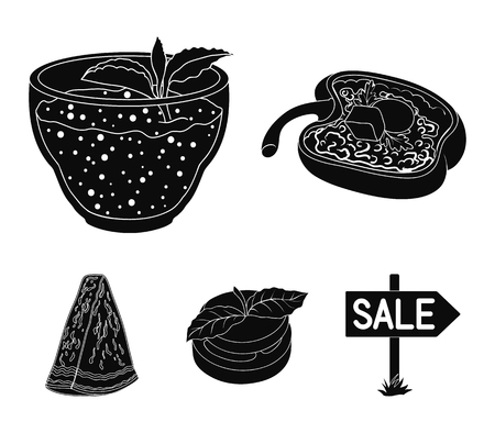 Sweet Bulgarian pepper, vitamin drink, jam with raspberry and mint leaves, a piece of watermelon. Vegetarian dishes set collection icons in black style vector symbol stock illustration web.