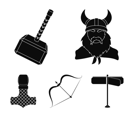 Viking in helmet with horns, mace, bow with arrow, treasure. Vikings set collection icons in black style vector symbol stock illustration web. Illustration