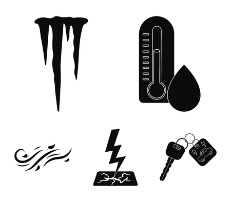 Humidity, icicles, thunderbolt, windy weather. Weather set collection icons in black style vector symbol stock illustration web.