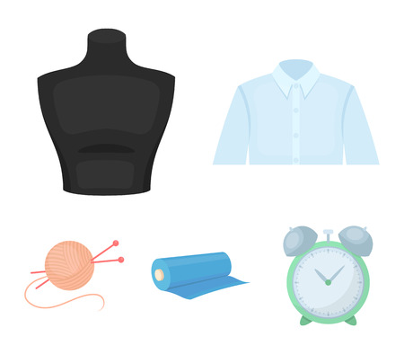 A mans shirt, a mannequin, a roll of fabric, a ball of threads and knitting needles.Atelier set collection icons in cartoon style vector symbol stock illustration web. Illustration