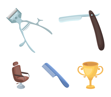 A razor, a mechanical hair clipper, an armchair and other equipment for a hairdresser.Barbershop set collection icons in cartoon style vector symbol stock illustration web.