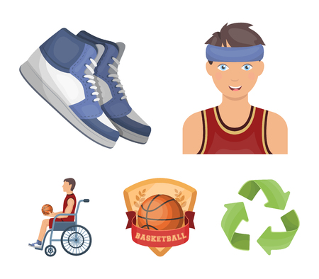 Basketball and attributes cartoon icons in set collection for design.