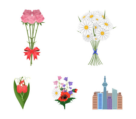 Various bouquets vector symbol stock web illustration.