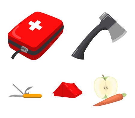 Camping set collection icons in cartoon style vector symbol stock illustration web.