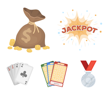 Jack sweat, a bag with money won, cards for playing Bingo, playing cards. Casino and gambling set collection icons in cartoon style vector symbol stock illustration .  イラスト・ベクター素材