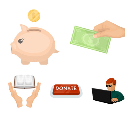Hand with money, a piggy bank for charity, a button with an inscription, a book for the blind in their hands. Charity and donation set collection icons in cartoon style vector symbol stock illustration.