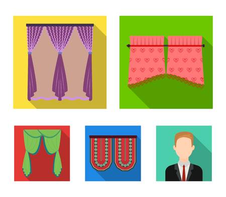 Curtains, stick, cornices, and other  icon in flat style.Bow, fabric, tulle icons in set collection.