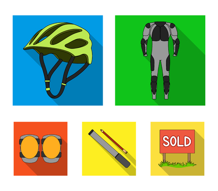 Full-body suit for the rider, helmet, pump with a hose, knee protectors.Cyclist outfit set collection icons in flat style vector symbol stock illustration . Çizim