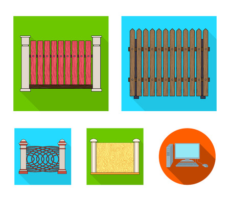 A fence of metal and bricks,wooden palisade. A different fence set collection icons in flat style vector symbol stock illustration .