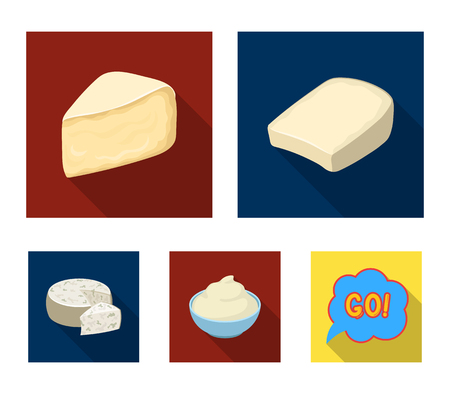Gruyere, camembert, mascarpone, gorgonzola.Different types of cheese set collection icons in flat style vector symbol stock illustration .