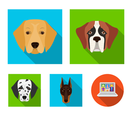 Dog breeds set collection icons in flat style vector symbol stock illustration web.