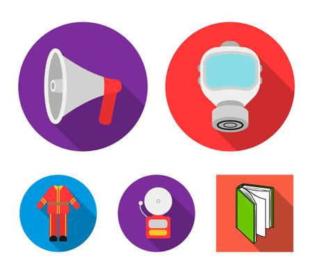 Gas mask, megaphone, siren, uniform. Fire department set collection icons in flat style vector symbol stock illustration web. Illustration