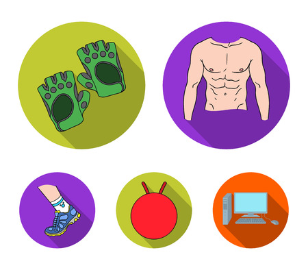 Mens torso, gymnastic gloves, jumping ball, sneakers. Fitnes set collection icons in flat style vector symbol stock illustration web.
