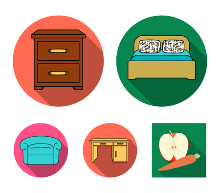 Interior, design, bed, bedroom .Furniture and home interiorset collection icons in flat style vector