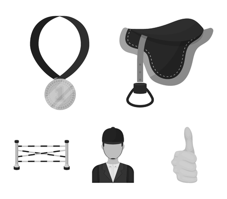 Saddle, medal, champion, winner .Hippodrome and horse set collection icons in monochrome style vector symbol stock illustration . 向量圖像