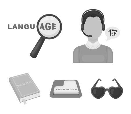 Interpreter and translator set collection icons Stock Illustratie