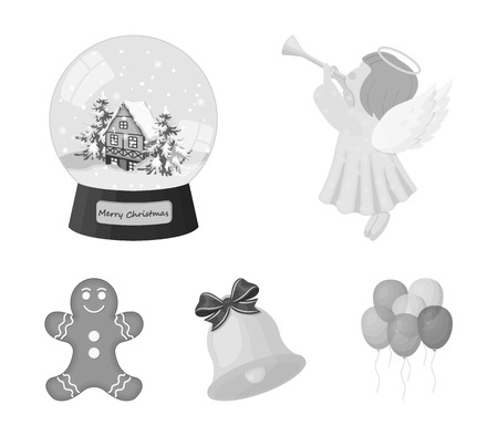 Angel, glass bowl, gingerbread and bell monochrome icons in set collection for design. Christmas vector symbol stock  illustration.