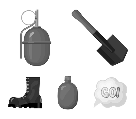 Sapper blade, hand grenade, army flask, soldiers boot. Military and army set collection icons in monochrome style vector symbol stock illustration .