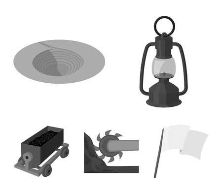 A miners lamp, a funnel, a mining combine, a trolley with ore. Mining industry set collection icons in monochrome style vector symbol stock illustration web. Illustration