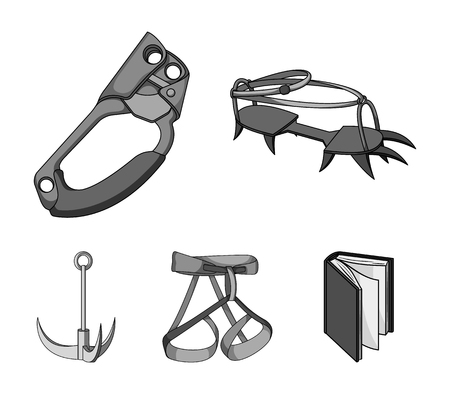 Hook, mountaineer harness, insurance and other equipment.Mountaineering set collection icons in monochrome style vector symbol stock illustration web.