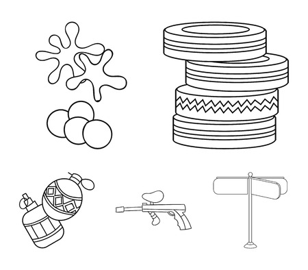 Competition, contest, equipment, tires .Paintball set collection icons in outline style vector Ilustração