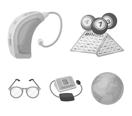 Lottery, hearing aid, tonometer, glasses.Old age set collection icons in monochrome style vector