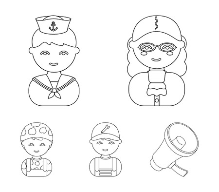 Judge, sailor, soldier, mechanic.Profession set collection icons in outline style vector symbol stock illustration . Çizim