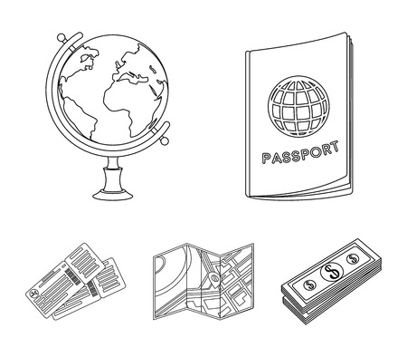 Vacation, travel, passport, globe .Rest and travel set collection icons in outline style vector symbol stock illustration .