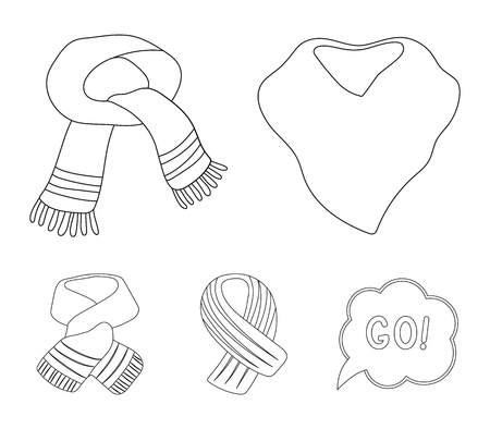Various kinds of scarves, scarves and shawls. Scarves and shawls set collection icons in outline style vector