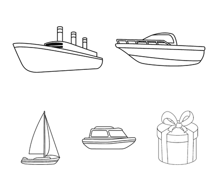 Protection boat, lifeboat, cargo steamer, sports yacht.Ships and water transport set collection icons in monocrome style vector