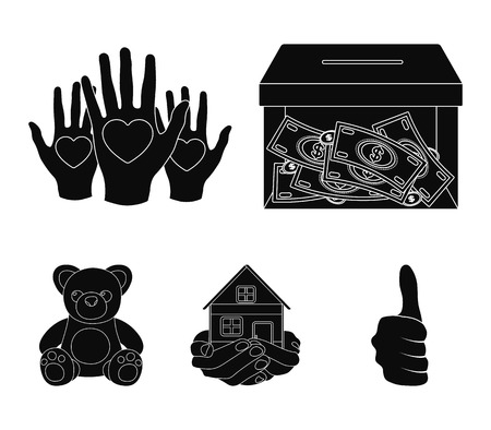 Box glass with donations, hands with hearts, house in hands, teddy bear for charity. Charity and donation set collection icons in black style vector symbol stock illustration web.
