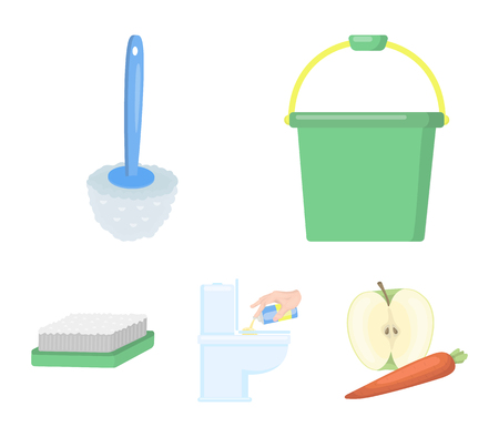 Cleaning and maid cartoon icons in set collection for design. Equipment for cleaning vector symbol stock web illustration and other web icon.