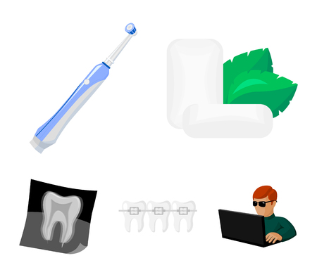 Dental care set collection icons in cartoon style illustration.
