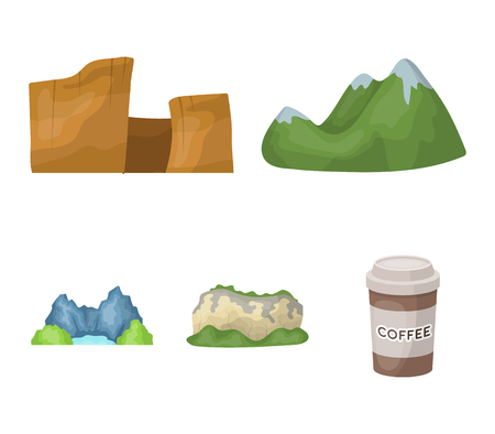 Green mountains with snow tops, a canyon, rocks with forests, a lagoon and rocks. Different mountains set collection icons in cartoon style vector symbol stock illustration web. Illustration