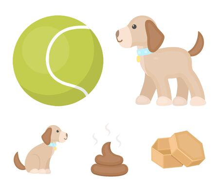 Dog sitting, dog standing, tennis ball, feces. Dog set collection icons in cartoon style vector symbol stock illustration web.