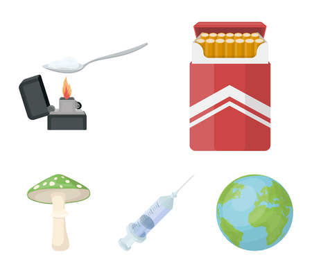 Cigarettes, a syringe, a galoyucinogenic fungus, heroin in a spoon.Drug set collection icons in cartoon style vector symbol stock illustration web. Illustration