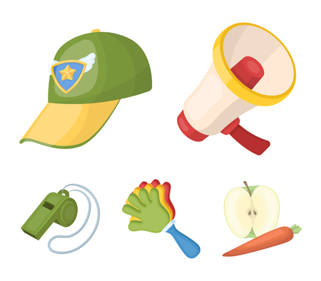 Megaphone, whistle and other attributes of the fans.Fans set collection icons in cartoon style vector symbol stock illustration web. Illustration